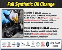 Synthetic Oil change & Winter tire install starting @ $79.99+tax