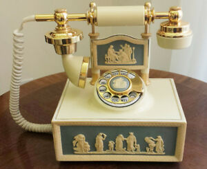 French Style Vintage Cameo Rotary Phone - Gold Accents