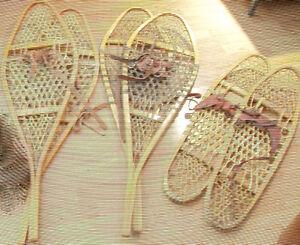 3 paires de raquettes en babiche, sport ou décoration $25 chaque