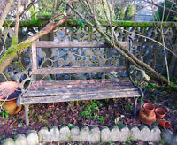 Vintage wood and cast iron garden bench chair decor