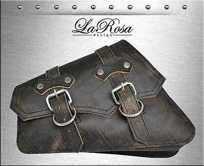 2004-2018 La Rosa Rustic Black Leather ClaSICK Harley Sportster Left Saddlebag