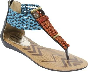 Carrini Women's Wood Bead Thong Sandal Size 8.5, New