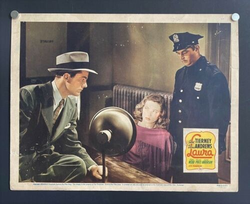 LAURA ORIGINAL LOBBY CARD Tierney Price Andrews Webb Classic *Hollywood Posters*