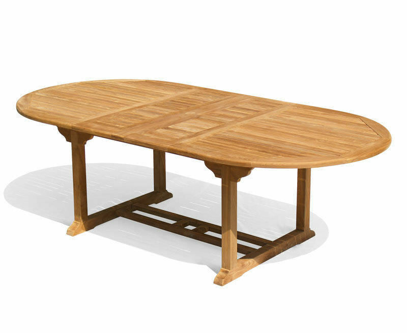 Oxburgh Teak Oval Extendable Outdoor Table 1 8 2 4m Sustainable Grade A