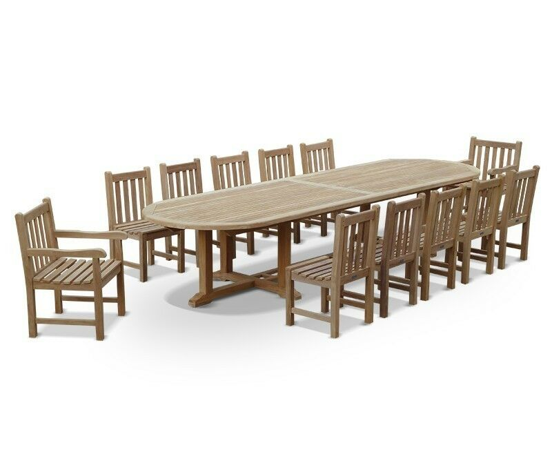 Brilliant Details About Winchester Extra Large Teak Dining Set 12 Seater 4M Garden Table Chairs Set Ibusinesslaw Wood Chair Design Ideas Ibusinesslaworg