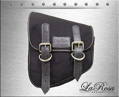 La Rosa Black Canvas Eliminator Harley Softail Rigid Left Swing Arm Saddlebag