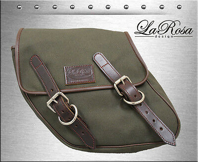 La Rosa Harley Dyna Left Saddlebag Eliminator Style - Army Green Canvas