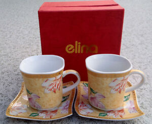 Set of 2 ELINA Demitasse Cup & Saucer New in Box