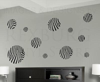 Zebra Pattern Circle Mural Wall Decal Vinyl Sticker Art Decor Decoration G53 - Zebra Decorations