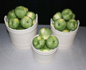 Fitz & Floyd 1986 Green Apple Canister Set of 3 $150