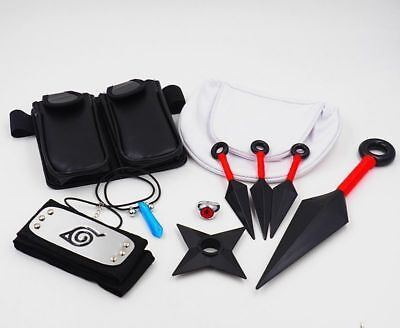 Used, 10pcs Naruto Cosplay Kunai Necklace Bag Headband Ring Collection Cosplay Props for sale  Shipping to Canada
