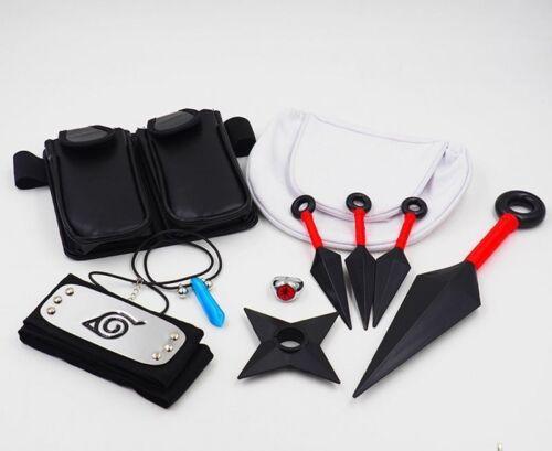 10pcs Naruto Cosplay Kunai Necklace Bag Headband Ring Collection Cosplay Props