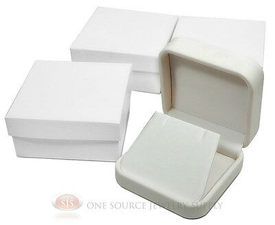 3 Piece White Leather Earring Jewelry Gift Box 2 34 X 2 34 X 1 18