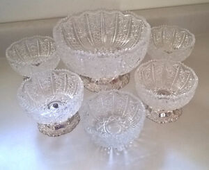 Italian Crystal 6 Piece Footed Crystal Bowl Set with Silver Base