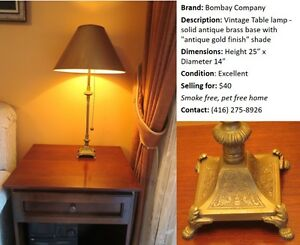 Bombay Company Vintage Table lamp - Gold