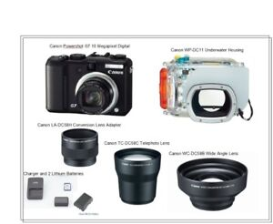 Canon G7 Camera, Telephoto, Wide Angle & Undewater Housing