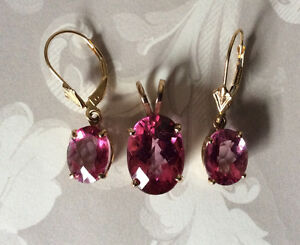 14K SOLID GOLD GENUINE PINK TOPAZ PENDANT AND EARRINGS *SET* West Island Greater Montréal image 6