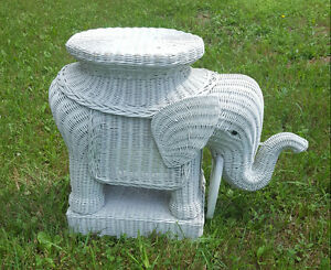 Vintage wicker elephant table