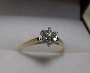 "10kt gold ""Diamond Cluster""  Princess Engagement Ring - Size 5"