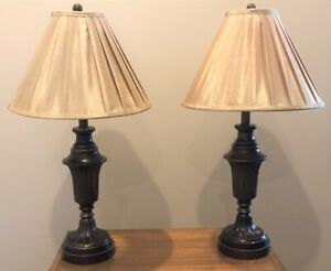 "'Coaster' 27 ½"" Antique Bronze Lamps – Like New"
