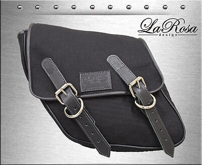 1996 & UP La Rosa Black Canvas Eliminator Harley Dyna Frame Left Mount Saddlebag