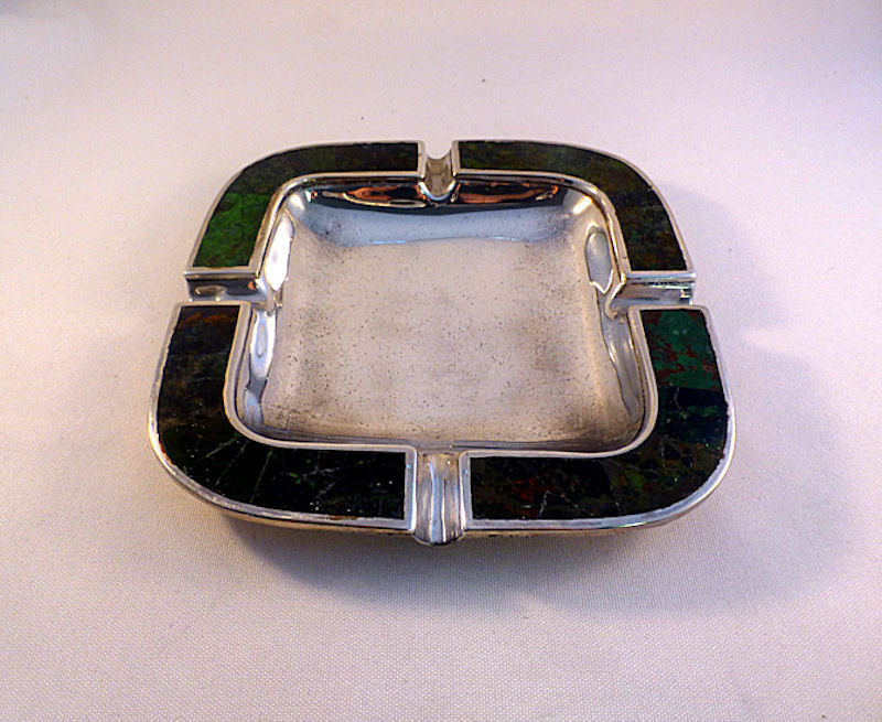 Los Castillo Mexican Silver Plate & Turquoise Inlay Ashtray