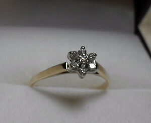 "10k gold ""Mini Diamond Star Cluster"" Engagement Ring. -  Size 5"