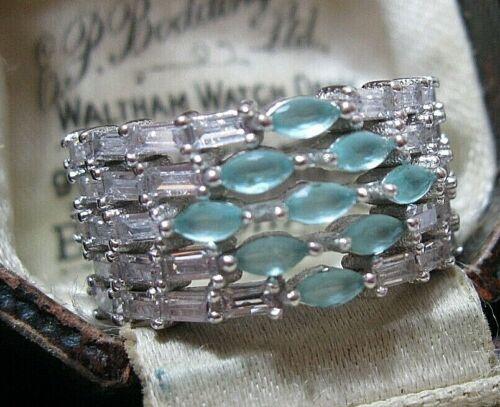 Beautiful Jewellery Sterling SILVER Aqua Chalcedony & Topaz Gem Stone RING Q 8