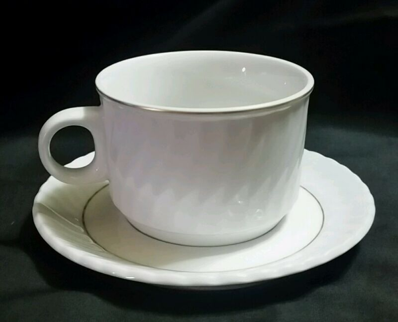 Schonwald Germany White Swirl Gold Trim Teacup and Saucer