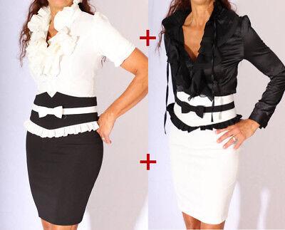 Sexy Kostüm Bleistiftrock & Rüschen Bluse in schwarz und weiß 4 Stück 1 Set - Rüschen Rock Kostüm