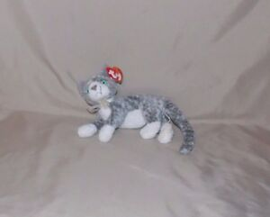 Ty Beanie Baby Gray White Kitty Cat PURR 2000 Blue Eyes 6