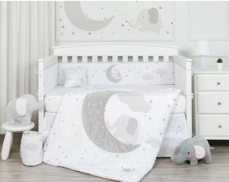Nipperland Good Moon Elephant 4 Piece Baby Nursery Crib Bumper
