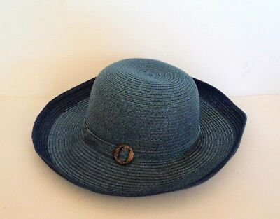 Straw Hats Cheap (David & Young Womens NAVY BLUE  Large Brim BEACH Sun Hat - FLASH)
