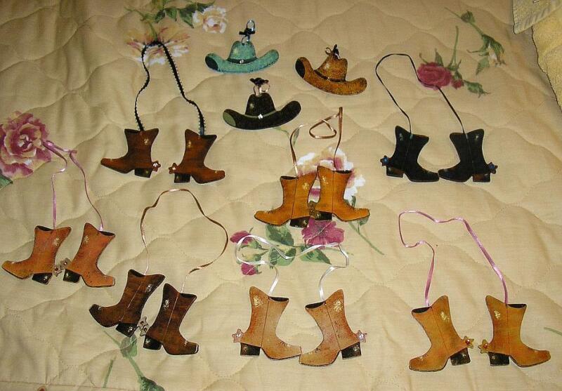 FOLK ART HAND PAINTING WOOD ORNAMENTS COWBOY BOOTS & WESTERN HATS W/ RHINESTONES