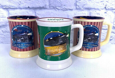 Warner Bros Polar Express Hot Chocolate Coffee Mugs Set Lot 3 Multicolor Train