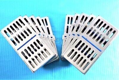 German 10 Dental Autoclave Sterilization Cassette Rack Box Tray For 7 Instrument