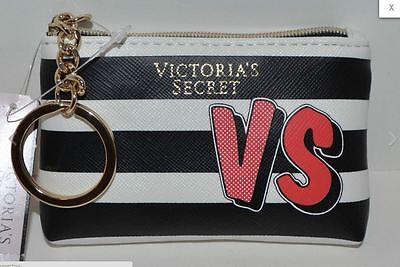 Victorias Secret Coin Credit Card Holder Case Bag New Purse Hearts Black Stripe