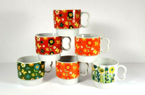 Rossini Japan Stackable Cups Mugs Floral Multi Color Set of Six Mid Century