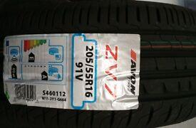 Tyres 205/55/16 AVON 91V - NEW (x4)