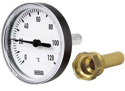 Wika Bimetall Zeigerthermometer Thermometer 0 bis 120°C + Tauchhülse Heizung