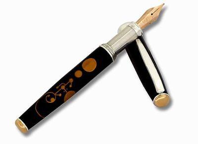 Crop Circles Fountain Pen Silver & Rose 18 kt gold F Nib Cartridge & Converter