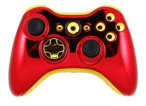 Xbox-360-Wireless-Controller-Shell-Replacement-Chrome-Red-Gold-Iron-Man