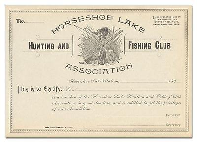 Horseshoe Lake Hunting and Fishing Club Association Certificate