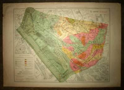 Plan antique card location of the 12eme, XII district de Paris 1924