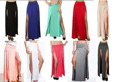Pack S-3XL High Split Band Waist Show Leg Party Club Double Slit Maxi Skirt