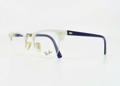 Ray-Ban Unisex Semi-Rim Clubmaster White/Gold Glasses w/ Case RB 4354V 5906 (Non Prescription Ray Bans)