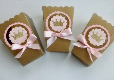 Pink and Gold Princess,  Royal, Party favors. candy box. goodie bags  SET OF - Baby Shower Favor Bags And Boxes