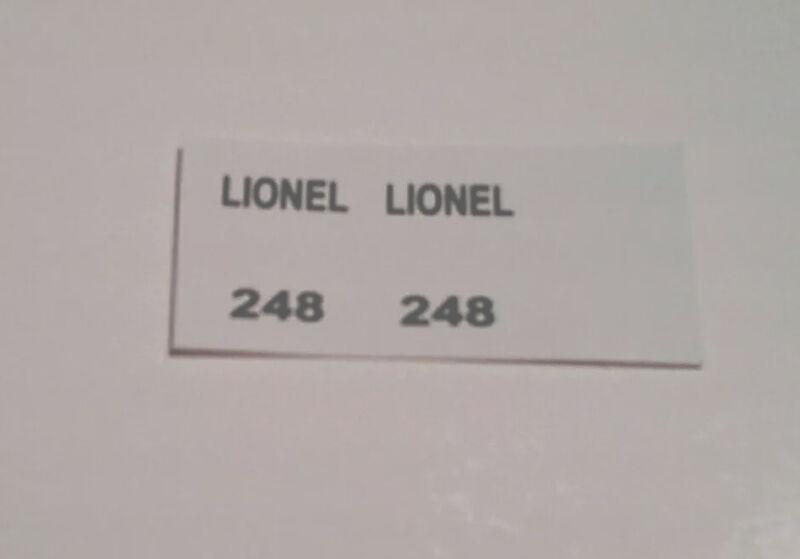 LIONEL 248 PRE-WAR O GAUGE LOCOMOTIVE BLACK WATERSLIDE DECAL 0 4 0 ENGINE SET