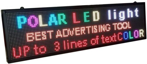 """WiFi P6 40"""" x 11"""" high resolution LED full RGB color sign with high resolution P"""