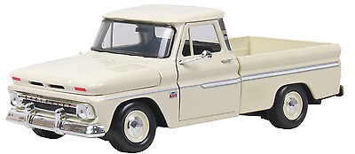 New Motormax - 1966 Chevy C10 Fleetside Pickup Cream 1:24 - 73355AC